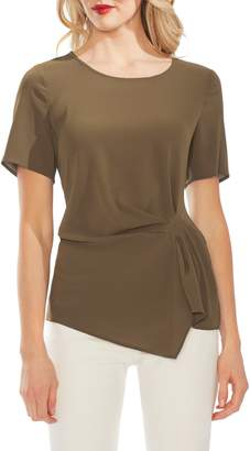 Vince Camuto Side Pleat Mixed Media Blouse
