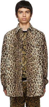 Versace Beige Cheetah Stud Shirt Jacket