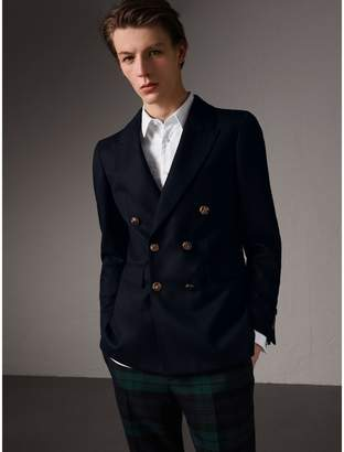 Burberry Slim Fit Wool Tailored Jacket with Bird Buttons