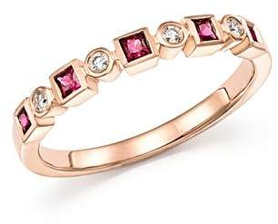 Bloomingdale's Ruby & Diamond Band in 14K Rose Gold - 100% Exclusive