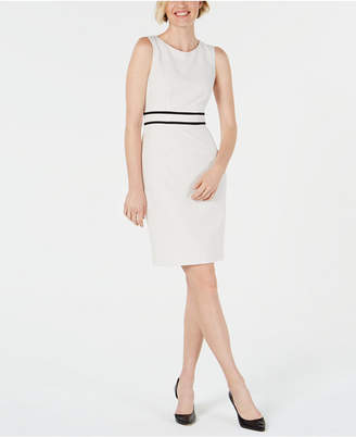 Kasper Piped Crepe Sheath Dress