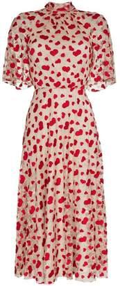 Giambattista Valli heart embroidered lace cotton blend dress