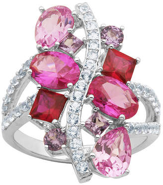 JCPenney FINE JEWELRY Simulated Amethyst, Pink Sapphire & Ruby Sterling Silver Ring