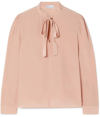 RED Valentino Pussy-bow Washed-silk Blouse - Antique rose