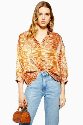 Topshop Womens Tall Zebra Print Shirt - Orange
