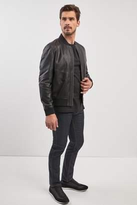 Mens HUGO Black Lachlan Leather Jacket
