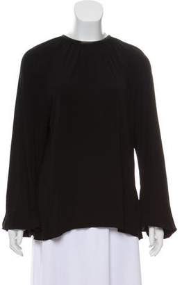 Rosetta Getty Leather-Trimmed Open-Back Blouse w/ Tags