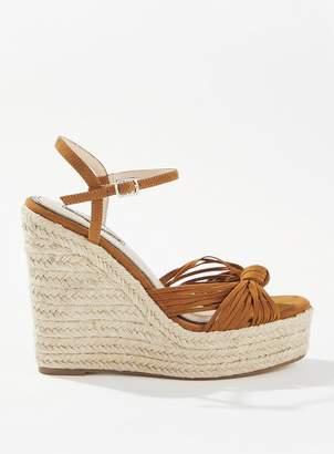 Miss Selfridge WALLICE Tan Twist Knot Wedge Sandals