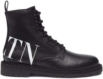 Valentino Logo print leather combat boots