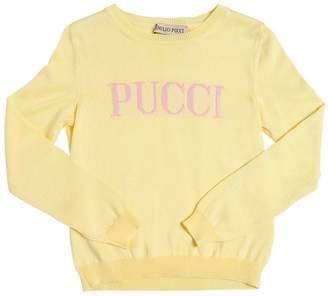 Emilio Pucci Logo Intarsia Cotton Blend Knit Sweater