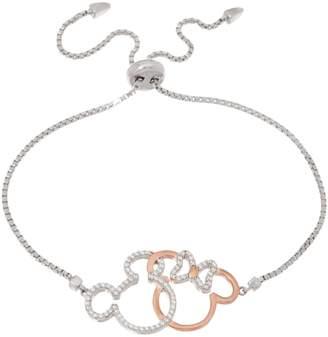 Disney Mickey's 90th Birthday Diamonique Bolo Bracelet, Sterling Silver