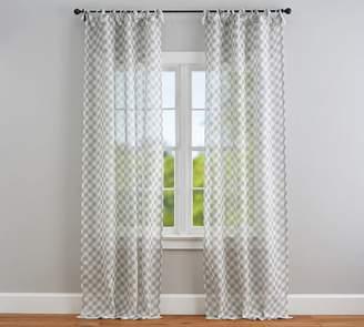 Pottery Barn Bias Gingham Tie Top Sheer Curtain - Gray
