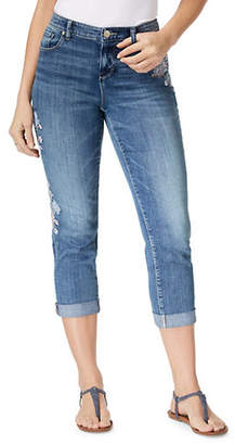 Style&Co. STYLE & CO. Spring Blooms Embroidered Boyfriend-Fit Cropped Jeans