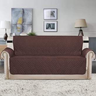 """PrimeBeau Sofa Slipcovers Reversible Quilted Furniture Protector, Water Resistant, Improved Couch Shield Elastic Straps Sofa Couch Shield Micro Fabric Pet Cover (Brown/Beige Sofa 75""""x110"""")"""