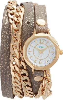La Mer Leather & Chain Wrap Watch, 35mm