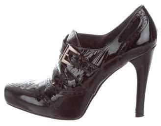 Stuart Weitzman Patent Leather Brogue Booties