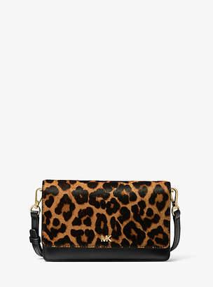 Michael Kors Leopard Calf Hair And Leather Convertible Crossbody Bag