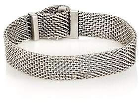 Title of Work Men's Adjustable Macro-Mesh Bracelet-Silver