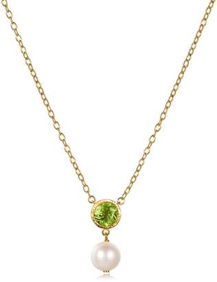 Piara 8MM White Freshwater Pearl and Peridot Pendant Necklace