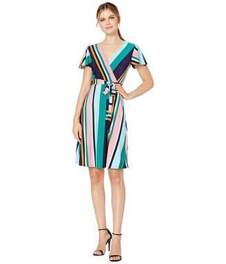 Donna Morgan Cap Sleeve Stripe Print Wrap Dress
