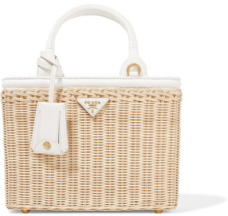 Prada - Midollino Small Leather-trimmed Canvas And Wicker Tote - Beige $1,480 thestylecure.com