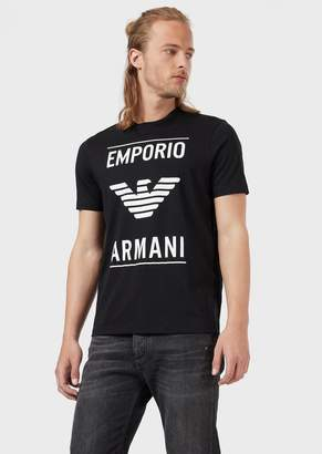 Emporio Armani Cotton T-Shirt With Logo Print
