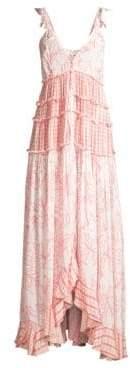 Rococo Sand Women's V-Neck Sleeveless Ruffle Dress - Pink - Size Large