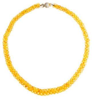 Lagos 18K Yellow Sapphire & Diamond Bead Necklace