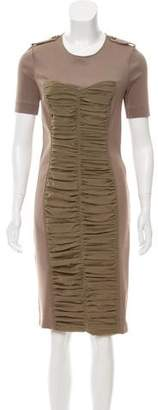 Burberry Ruffle-Accented Knee-Length Dress