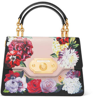 1e023704b3a8 Dolce   Gabbana Welcome Medium Floral-print Textured-leather Tote - Black