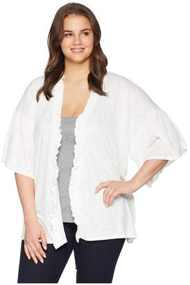 Bobeau B Collection by Plus Size Marianne Ruffle Sleeve Cardigan Women's Sweater