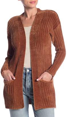 Woven Heart Chenille Ribbed Open Front Cardigan