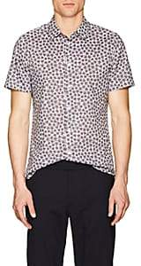 Paul Smith Men's Abstract-Floral Cotton Slim Shirt - Blue