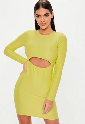 26f4b2fe21 Missguided Green Ribbed Cut Out Mini Dress