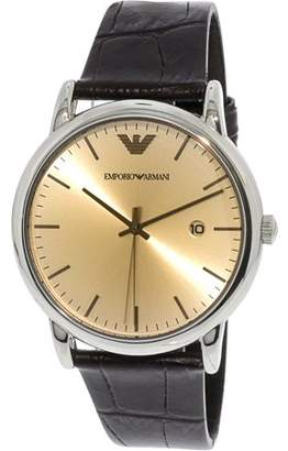 Emporio Armani Men's AR11096 Silver Leather Japanese Quartz Dress Watch