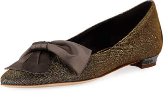 Manolo Blahnik Glittered Ballet Flat with Bow
