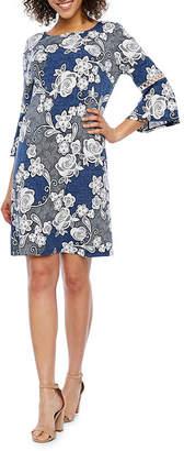 Studio 1 3/4 Bell Sleeve Floral Puff Print Sheath Dress