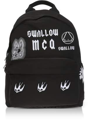 McQ Sponsorship Black Nylon Women's Backpack W/ Badges