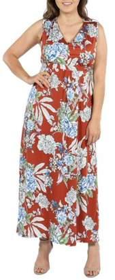 24/7 Comfort Apparel 24Seven Comfort Apparel Tria Sleeveless Red Floral Plus Size Maxi Dress