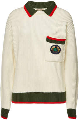 Burberry Olivine Knit Pullover with Wool and Cashmere