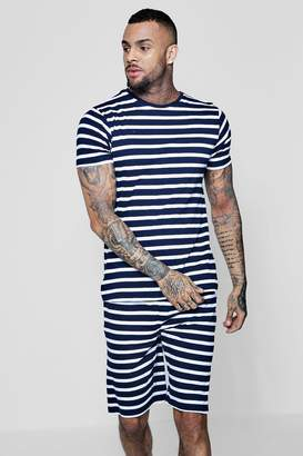 boohoo Crew Neck Stripe Pyjama Set