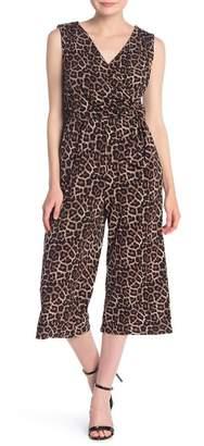 T Tahari Sleeveless Surplice Neck Leopard Jumpsuit