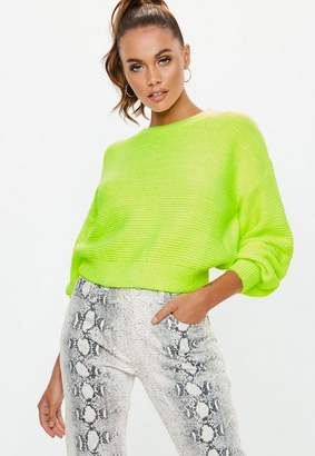Missguided Yellow Neon Crew Neck Sweater