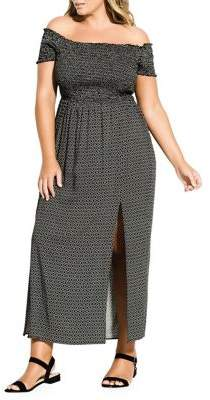 City Chic Plus Off-The-Shoulder Printed Leg Slit Maxi Dress