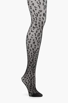 boohoo Leopard Spot Black Tights