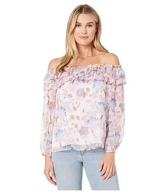 Vince Camuto Long Sleeve Poetic Blooms Ruffled Off Shoulder Blouse