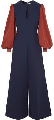 Roksanda Aunya Two-tone Cady Jumpsuit - Midnight blue