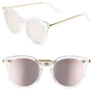 Women's A.j. Morgan Hi There 50Mm Mirrored Round Sunglasses - Crystal/ Mirror $24 thestylecure.com