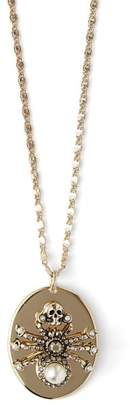 Alexander McQueen Spider Crystal And Pearl Necklace - Womens - Gold