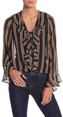Anama Striped Ruffle Long Sleeve Blouse